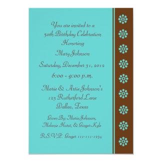 50th Birthday Party Invitation Aqua and Brown