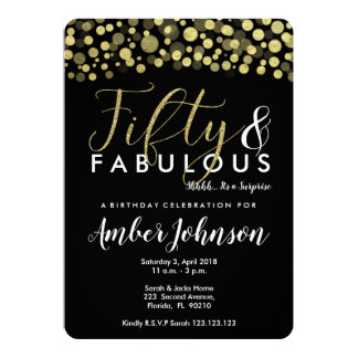 50th birthday party invitation, black and gold card