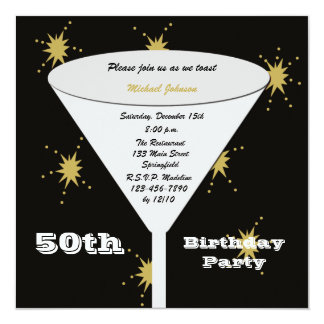 50th BIrthday Party Invitation Gold 50th Toast