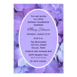 50th Birthday Party Invitation Hydrangea