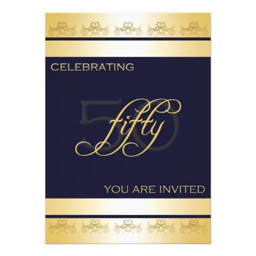 50th Birthday Party Invitation in Blue