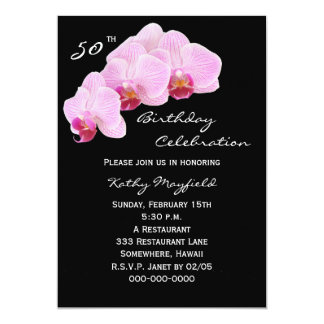 50th Birthday Party Invitation Orchids