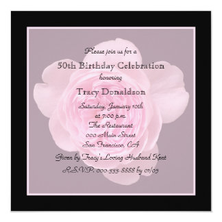 50th Birthday Party Invitation Rose for 50th