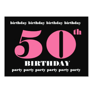 50th Birthday Party Invitation Template Pink Black
