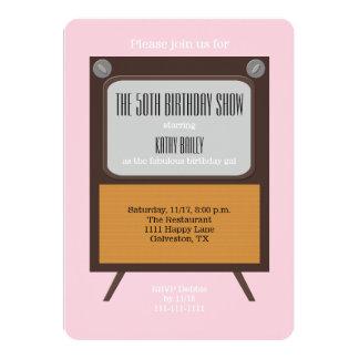 50th Birthday Party Invitation TV on Pink