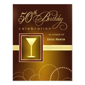"50th Birthday Party Invitations - Contemporary 4.25"" X 5.5"" Invitation Card"