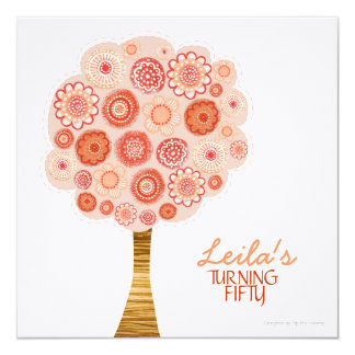 50th Birthday Party Orange Blossom Tree Invitation