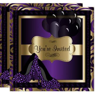 50th Birthday Party   Purple Leopard High Heels Card