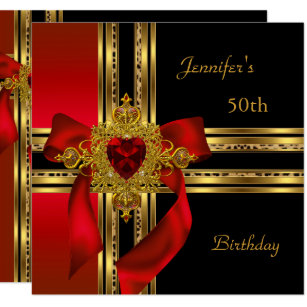50th Birthday Party Red Gold Heart Jewel Invitation