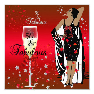 50th Birthday Party Retro Diva Art deco Red Black Card