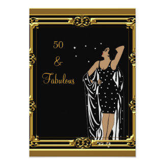 50th Birthday Party Retro Diva deco Black White Card