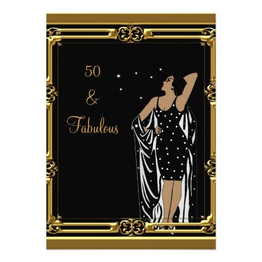 50th Birthday Party Retro Diva deco Black White Invites