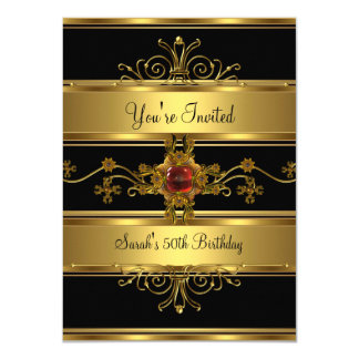 50th Birthday Party Rich Gold Black Red Jewel Card