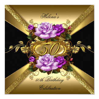 "50th Birthday Party Roses Purple Gold Black 5.25"" Square Invitation Card"