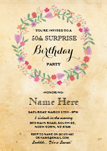50th Birthday Party Rustic Vintage Floral Invite