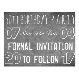 50th Birthday Party Save The Date Chalkboard Postcard