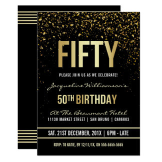 50th Birthday Party | Shimmering Gold Confetti Card