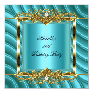 "50th Birthday Party Teal Blue Gold Curve Diamond 5.25"" Square Invitation Card"