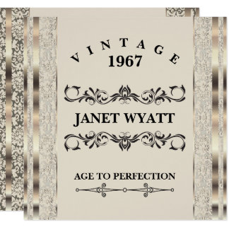 50th Birthday Party | Vintage Creme & Gold Card