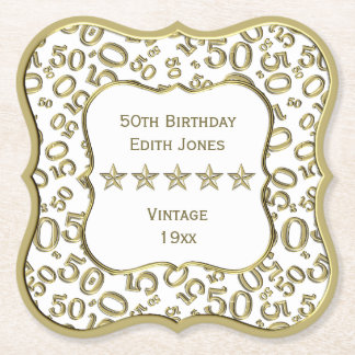 50th Birthday Party White and Gold Theme Paper Coaster