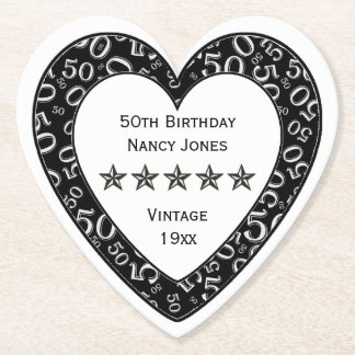 50th Birthday Party White/Black Theme Paper Coaster