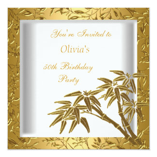 "50th Birthday Party White Gold Bamboo Floral Asian 5.25"" Square Invitation Card"
