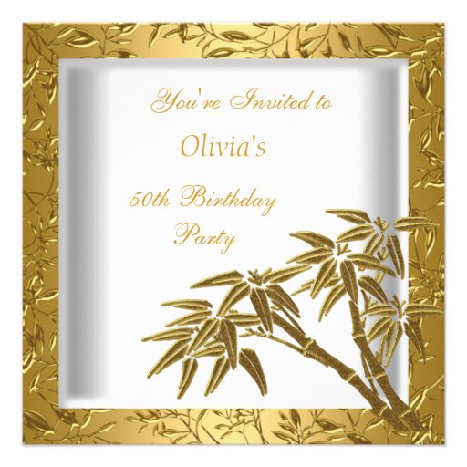 50th Birthday Party White Gold Bamboo Floral Asian Personalized Announcement