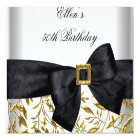 50th Birthday Party White Gold Jewel Black Bow Card