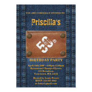 50th,Birthday Party Woman, Any age, Denim style Card