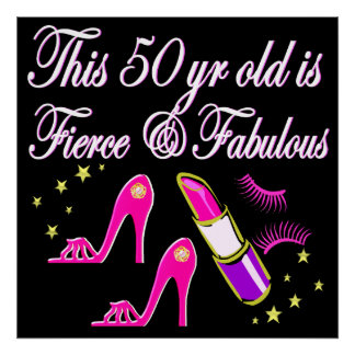 50TH BIRTHDAY PINK DIVA DESIGN POSTER