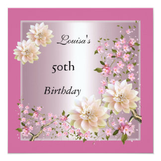50th Birthday Pink Lotus Blossom Floral Card