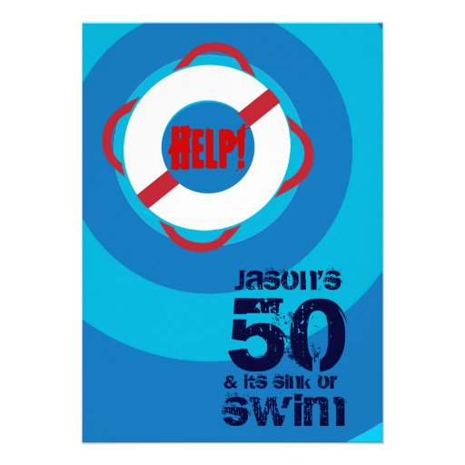 50th Birthday Pool Party Invitation