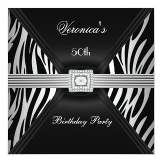 "50th Birthday Silver Black Zebra Diamond  Jewel 5.25"" Square Invitation Card"