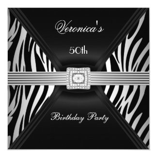 "50th Birthday Silver Black Zebra Diamond  Jewel 5.25"" Square Invitation Card"