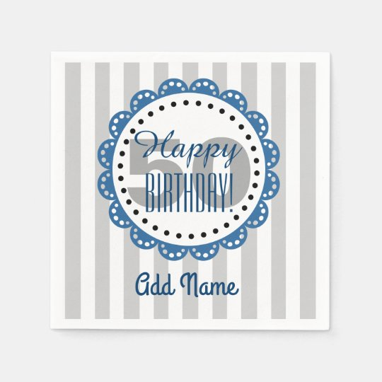 50th Birthday Silver Stripes with Blue Text Paper Napkins