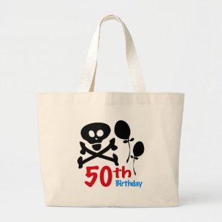 50th Birthday Skull Crossbones Large Tote Bag