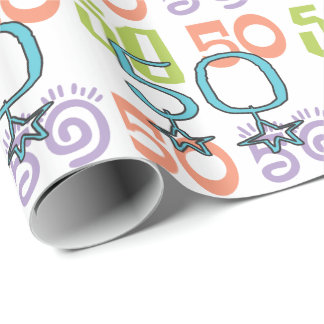 50th Birthday Stars Colorful Wrapping Paper