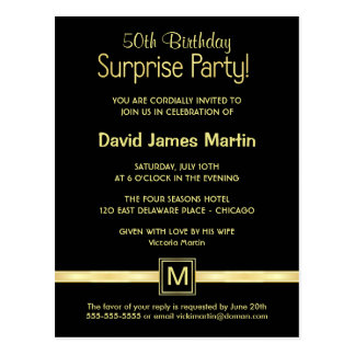 50th Birthday Surprise Party - Sample Invitations Postcard