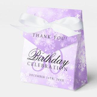 50th Birthday Thank You Purple Winter Wonderland Favor Box