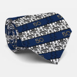 50th Birthday Tie Black and White Damask