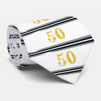 50th Birthday Tie Black, Silver and White