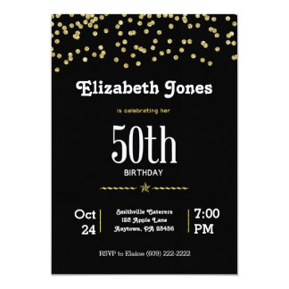 50th Birthday with Glittering Gold Card