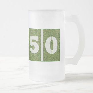 50th Birthday Yard Football Customizable Glass Mug