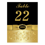 50th Black Gold Floral Table Number Post Card