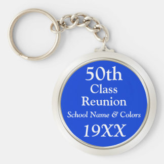 50th Class Reunion Gift Ideas, Your Text, Colors Keychain