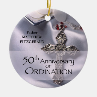 50th Custom Name Ordination Anniversary Chalice Ceramic Ornament