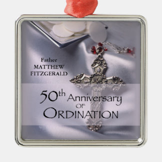 50th Custom Name Ordination Anniversary Chalice Metal Ornament