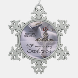 50th Custom Name Ordination Anniversary Chalice Snowflake Pewter Christmas Ornament