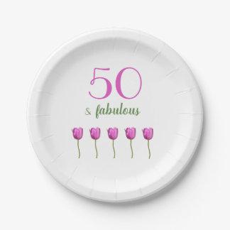 50th Elegant Birthday Plate | Magenta Tulip