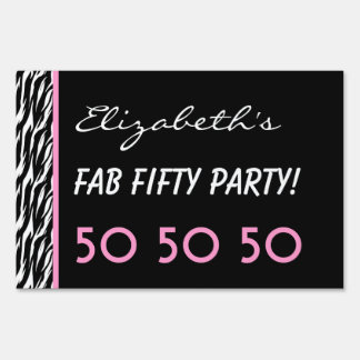 50th Fab Birthday Party Celebration Zebra V3 Sign